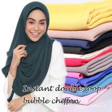 Оптовый горячие онлайн простые мусульманские головные уборы пузырь шифон шарф мгновенных хиджаб