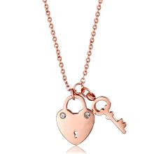 Jóias de moda colar de coração de aço inoxidável