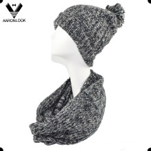 Trendy Space Dyed Mohair Knitted Loop Scarf and Hat