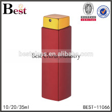 2017 hot new products cosmetic red aluminum cover glass perfume bottle 10ml 20ml 35ml spray square rotary bottle perfume