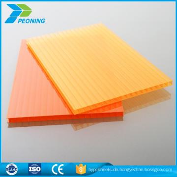 China-Plastikpaneele Produkte unzerbrechliches einzelnes Wandkristall Polycarbonatblatt für Carport