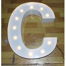 Aluminio iluminación decoración bombilla letras