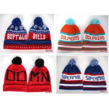 Neuheit hot verkaufen Pom Mütze Basketball Beanies Winter Skullies für Fußballfans und Eishockey Großhandel