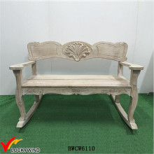 Antique White Scroll Double Rocker Wooden Rocking Porch Bench