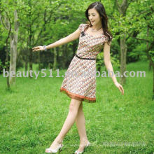 Новый горячий стиль лучшие продажи красивый короткий рукав шифона прекрасная юбка