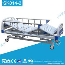 SK014-2 lit manuel de manivelle de l'hôpital 3 d'acier inoxydable