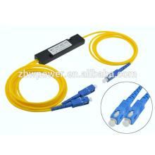 1X2 SC APC UPC Séparateur optique à diviseur de tubes à petite échelle pour Local Areal Networks LAN