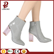 Grey PU ladies high-heeled ankle boots