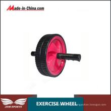 Treino abdominal duplo do exercício da roda do rolo do Ab