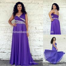 Top bewertet 2014 Lila Chiffon Plus Size Lange Abendkleid Jeweled Ein-Schulter gefaltete Mieder Lace-up A-Linie Abendkleid NB0905