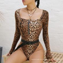 Traje de baño con cremallera de impresión digital de leopardo de manga larga