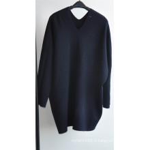 Sweat à encolure en tricot à encolure en V à 100% en laine d'hiver 100%