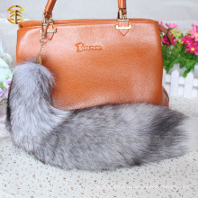 Real Fur Trim Chaveiro Fox Tail Fur Keychain White Fox Fur Tail