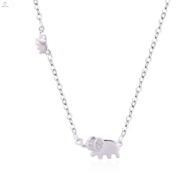 Women Loveliness Exquisite S925 Sterling Silver Choker Elephant Pendant Necklace