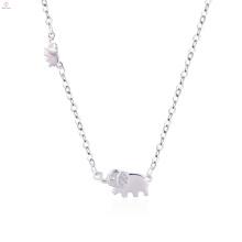 Женская Красота Изысканный S925 Стерлингового Серебра Ожерелье Слона Кулон Ожерелье