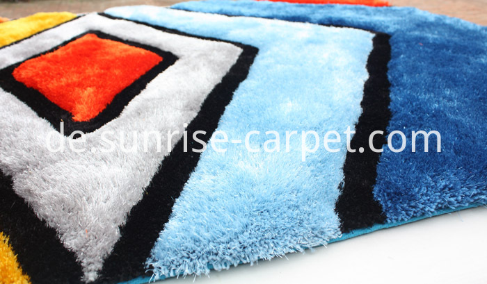Polyester mix yarn 3D Shaggy Rug Multi Color