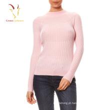 Camisola de manga comprida mulher pulôver de lã