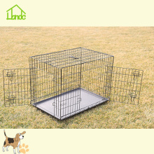 Two Door Black Folding Portable Large Dog Crate