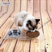 Doppelter Haustier-Katzen-Schüssel mit Stand-starkem Edelstahl-Haustierfutter-Zufuhr der GroßhandelsEdelstahl-Hundenudel