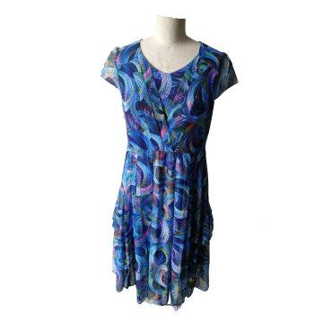 Summer Printed Geometrical Pattern V Neck Short Sleeve Pleated Women′s Dress