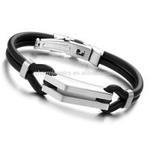 2015 nouvelle mode bijoux en acier inoxydable bonne exécution jamais fané noir bracelet en silicone bracelet design attractif PH522