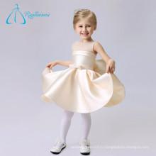 Простой Длиной До Колена Пояса Лук Пятно Тюль Платье Девушки Цветы Платья Свадебные