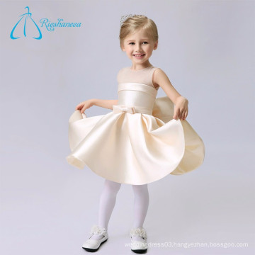 Simple Scoop Knee Length Sashes Bow Stain Tulle Flowers Girl Dresses Wedding