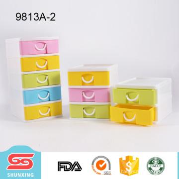 Colorful plastic desktop makeup storage organizer with drawer
