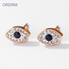 Rose gold berlian imitasi anting pejantan mata jahat