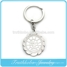 Shiny polishing laser cut stainless steel loving mother Mary pendant keychains christianity religious jewelry