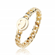 Gold and silver Smiley Face Happy Face Ring with Cute Chain Link Good Luck Stackable Rings for Women