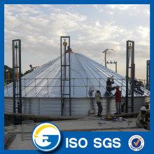 Hot dip galvanized flat bottom silo for grain storage