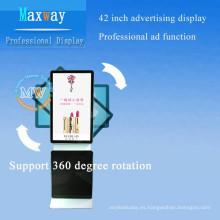 señalización digital de 42 pulgadas piso stand soporte giratorio panel de publicidad de 360 grados