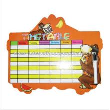 tabla de tiempo, tabla blanca de la semana tablero blanco, tabla de tabla de cortar