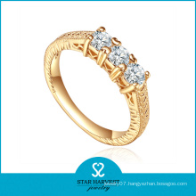 Charm Fashion Crystal White CZ Gold Plated Silver Ring (R-0463)