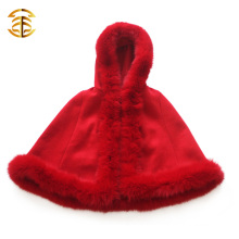 New Style Wholesale Elegance Red Real Fox Fur Kids Shawls Fur Cape