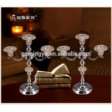 Luxuriante en diseño de estilo real plata estilo antiguo romántico titular de la vela de metal