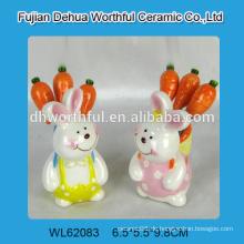 Nette Kaninchen geformte keramische Fruchtgabel gesetzt für 2016 Ostern Partei Dekoration