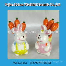 Cute rabbit shaped ceramic fruit fork set for 2016 Easter party decoration