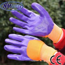 NMSAFETY guantes de aceite púrpura 13g guantes de trabajo de nitrilo con recubrimiento de nitrilo