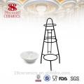 Venta al por mayor de cerámica china otros utensilios planos, taza de postre conjunto con soporte de hierro