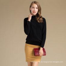 Camisa de invierno chica camiseta suéter medio jersey de lana de cachemir suéter de lana mezcla