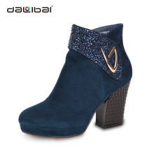 Wholesale blue and black high heel women denim boots in europe