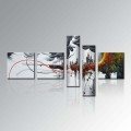 Hand-Painted Group 5 Piece Modern Framed Home Decor Canvas Wall Art Abstract Oil Painting (XD5-129)
