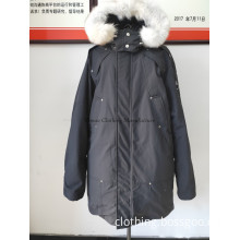 Man duck down middle coat with fur hood