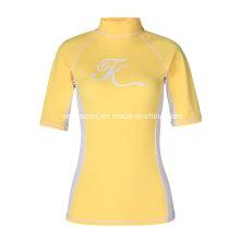 Bright Yellow Upf50 + Lycra Rash Guard camisas para las mujeres (SNRG05)