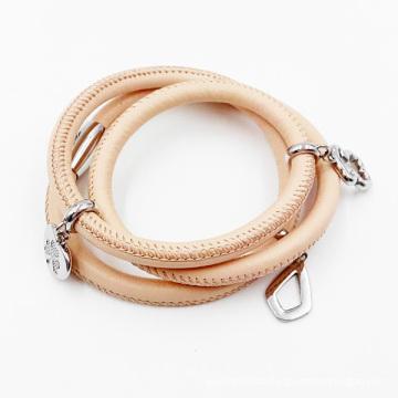 Mode Armband Großhandel Echtes Leder Wickelarmband für Frauen, Benutzerdefinierte Leder Bettelarmband