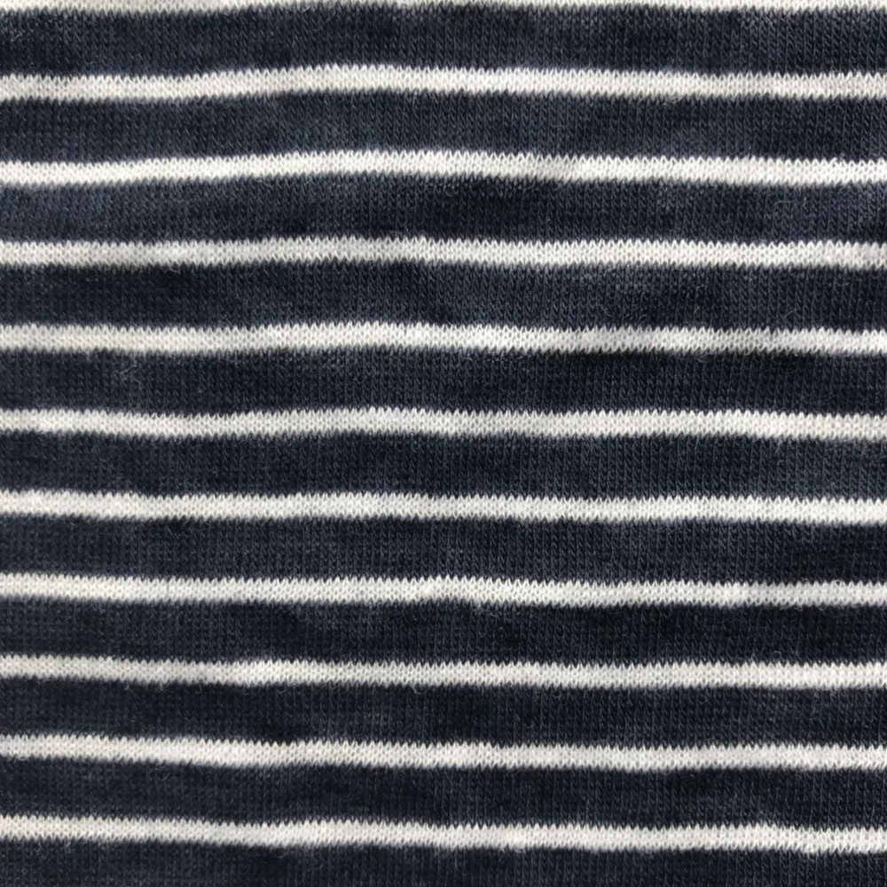 Stripe linen blended yarn knitting single jersey