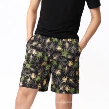 high quality Hot Shorts luxury breathable 100% Silk printed shorts sleepwear Knee Length men summer