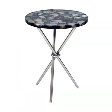 table ronde en agate bleue
